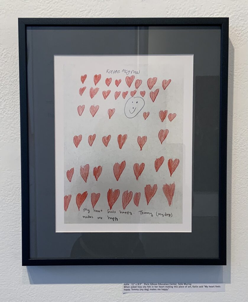 """11"""" x 8.5""""   When asked how she felt in her heart making this piece of art, Katie said """"My heart feels happy. Tommy (my dog) makes me happy."""""""