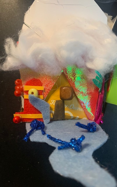 """Community Unity Lantern  with Chinese Take Out carton 8"""" x 6"""" x 8"""" high Mixed Media"""
