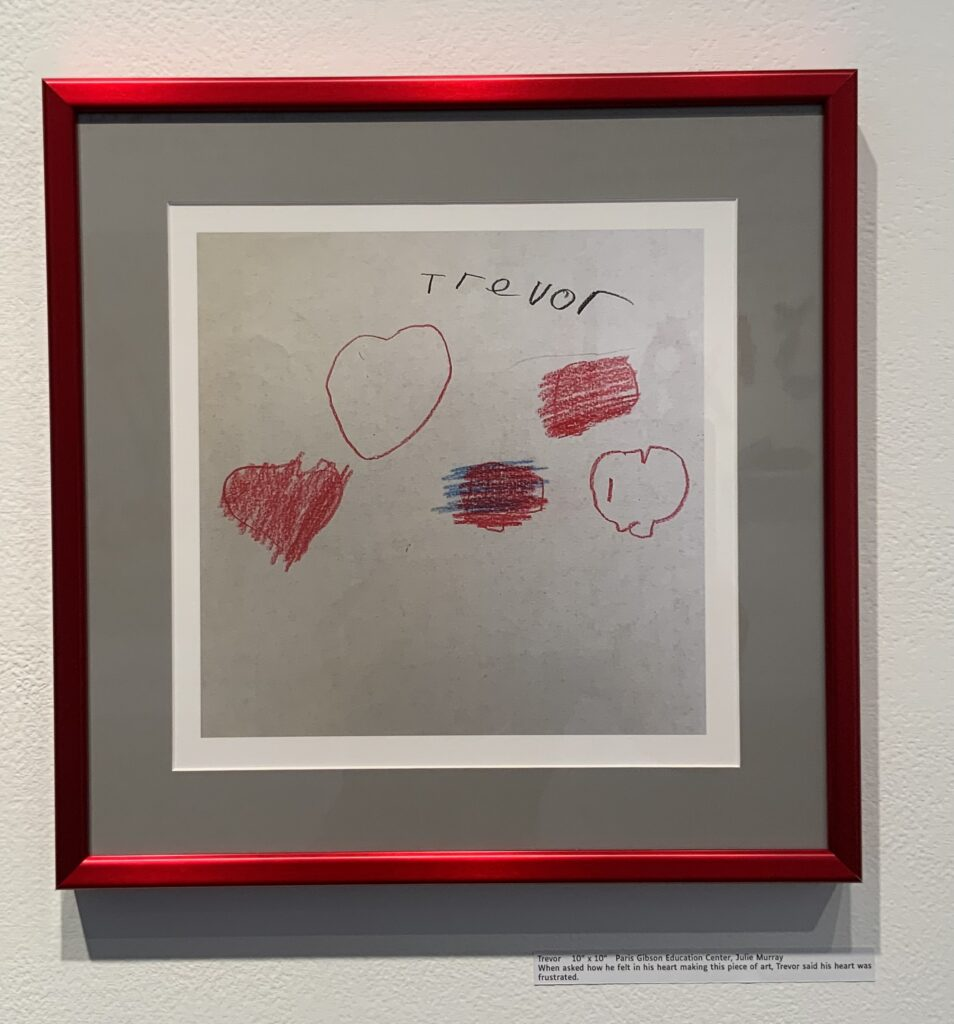 """10"""" x 10""""   Paris Gibson Education Center, Julie Murray  When asked how he felt in his heart making this piece of art, Trevor said his heart was frustrated."""