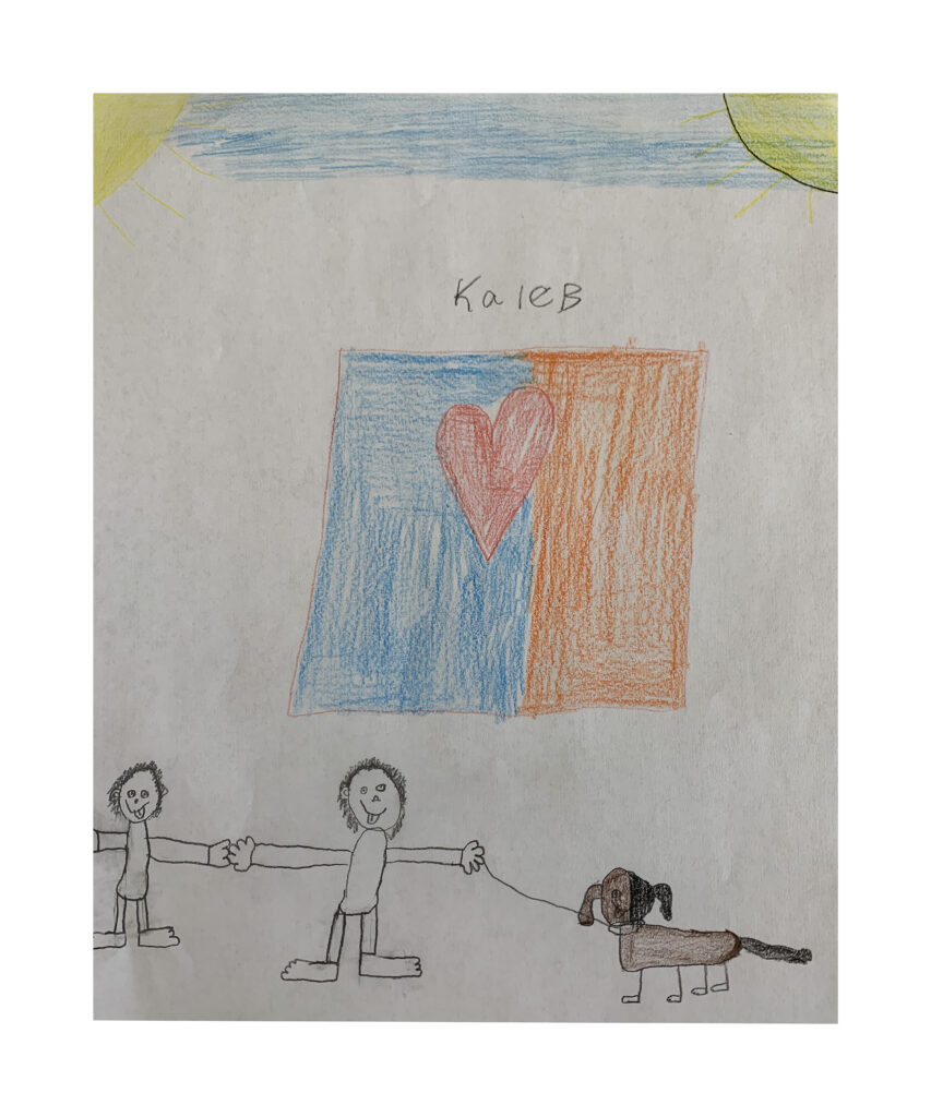 """11"""" x 9""""   When asked how he felt in his heart making this piece of art, Kaleb said he was feeling happy and dreaming of a happy family."""